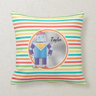 Robot Bright Rainbow Stripes Pillow