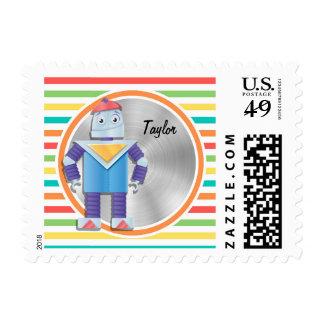Robot; Bright Rainbow Stripes Postage