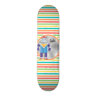 Robot; Bright Rainbow Stripes Skateboard Deck