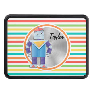 Robot; Bright Rainbow Stripes Trailer Hitch Covers