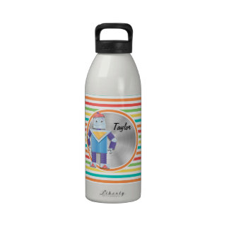 Robot Bright Rainbow Stripes Reusable Water Bottles