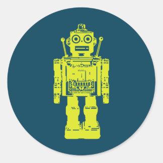 robot button classic round sticker