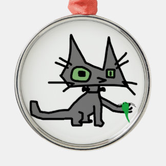 Robot Cat Holds A Mouse Toy Christmas Ornaments