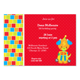 Robot * choose background color 5x7 paper invitation card