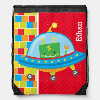 Robot * choose background color drawstring bag
