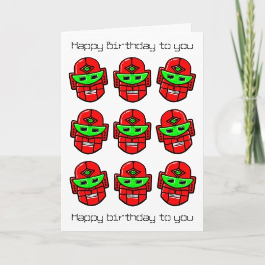 Robot Choral Society Happy Birthday Song Card Zazzle