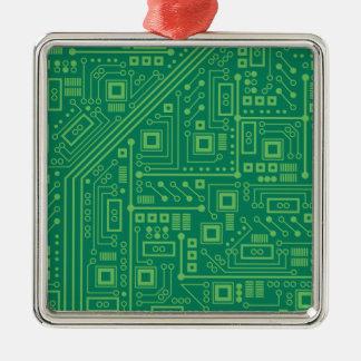 Robot Circuit Board Square Metal Christmas Ornament