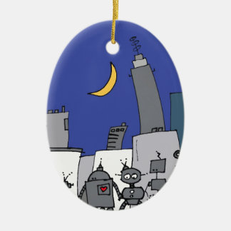 Robot City Double-Sided Oval Ceramic Christmas Ornament