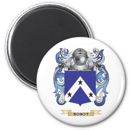 Robot Coat of Arms (Family Crest) Refrigerator Magnet