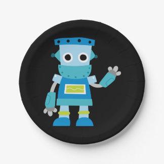 Robot colorido del azul de los niños platos de papel