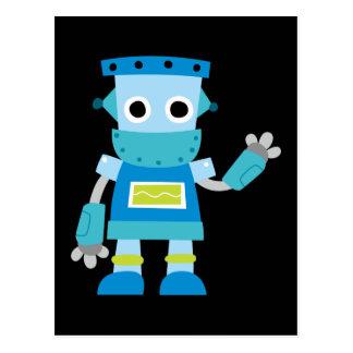 Robot colorido del azul de los niños tarjeta postal