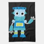 Robot colorido del azul de los niños toalla de cocina