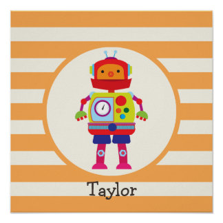Robot colorido en rayas anaranjadas póster