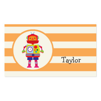 Robot colorido en rayas anaranjadas tarjetas de visita