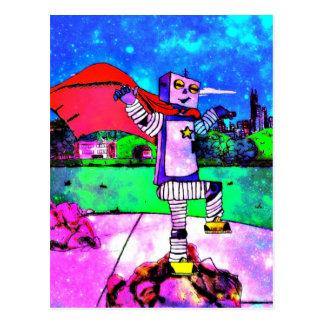 ¡Robot cómico del super héroe del estilo del Tarjetas Postales