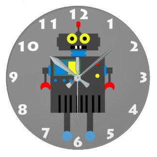 ROBOT CON el reloj de pared BLANCO de los niños de