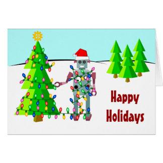 Robot con las luces de navidad tarjeta de felicitación