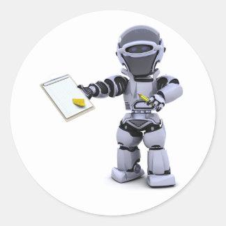 Robot con los pegatinas de un tablero pegatina redonda