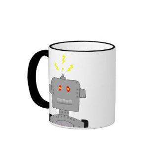 robot confuso taza de dos colores