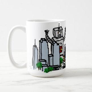 Robot contra ciudad tazas de café