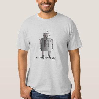 Robot corporativo del vintage retro que trabaja polera
