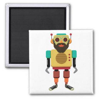 Robot corriente retro del inconformista imán cuadrado