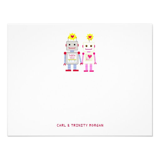 Robot Couple Thank You Note Cards Personalized Invite