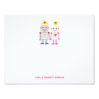 """Robot Couple Thank You Note Cards 4.25"""" X 5.5"""" Invitation Card"""