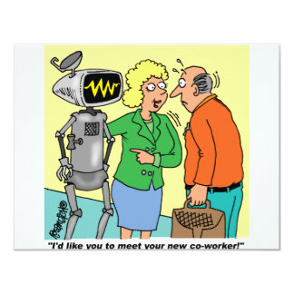 Robot Coworker Cartoon Card