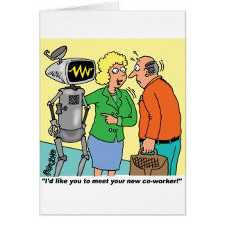 Robot Coworker Cartoon Cards