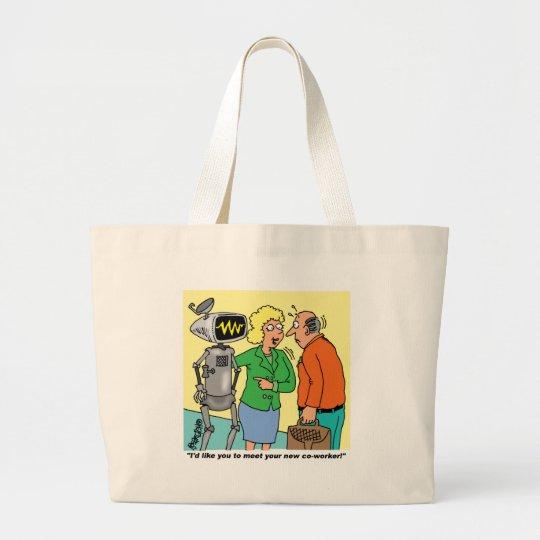 Robot Coworker Cartoon Large Tote Bag