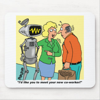 Robot Coworker Cartoon Mouse Pad