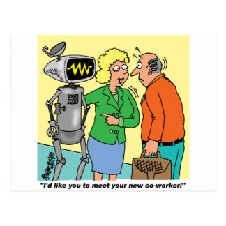 Robot Coworker Cartoon Postcard