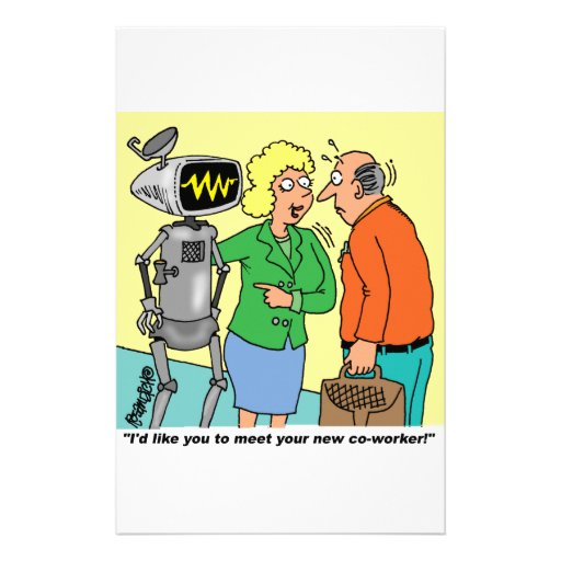 Robot Coworker Cartoon Stationery Paper