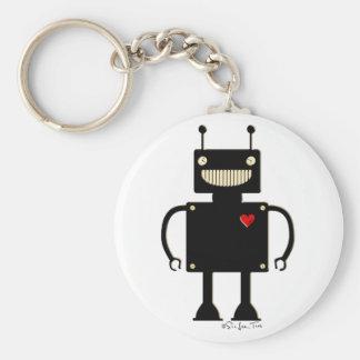 Robot cuadrado feliz 1 llavero redondo tipo pin