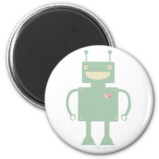 Robot cuadrado feliz 2 imanes para frigoríficos
