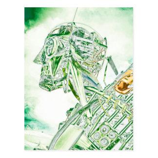 Robot de cristal del hombre tarjeta postal