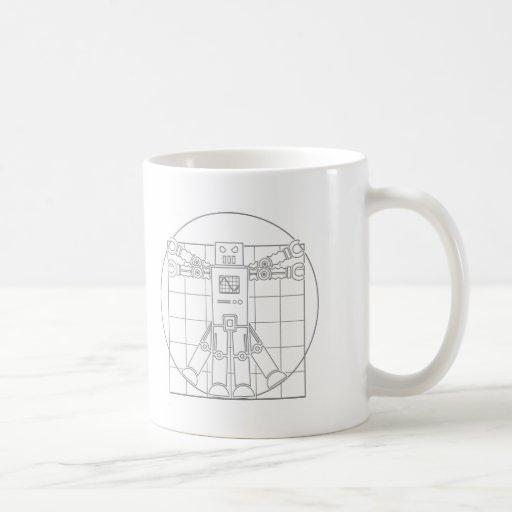 Robot de da Vinci Vitruvian Tazas De Café