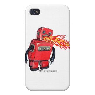 Robot de Fuego-respiración rojo iPhone 4 Protector