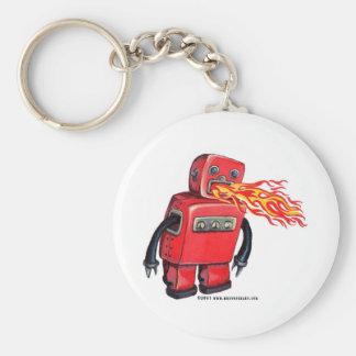 Robot de Fuego-respiración rojo Llavero Redondo Tipo Pin