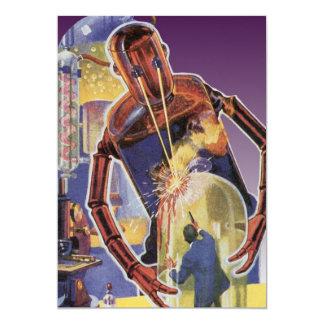 Robot de la ciencia ficción del vintage con los invitación 12,7 x 17,8 cm