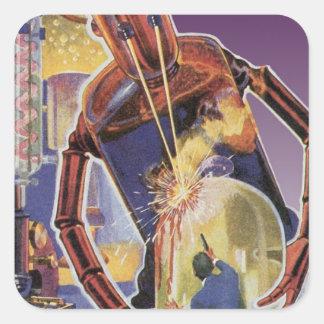 Robot de la ciencia ficción del vintage con los pegatina cuadrada