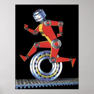 Robot de la ciencia ficción del vintage, póster