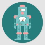 Robot de la sirena del espacio etiqueta redonda