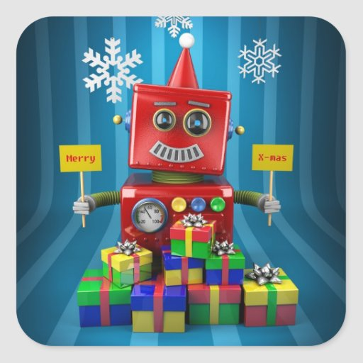 Robot de las Felices Navidad Pegatina Cuadrada