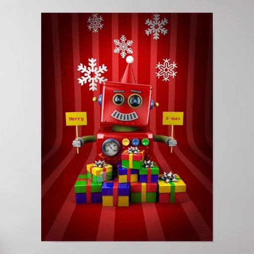 Robot de las Felices Navidad Póster