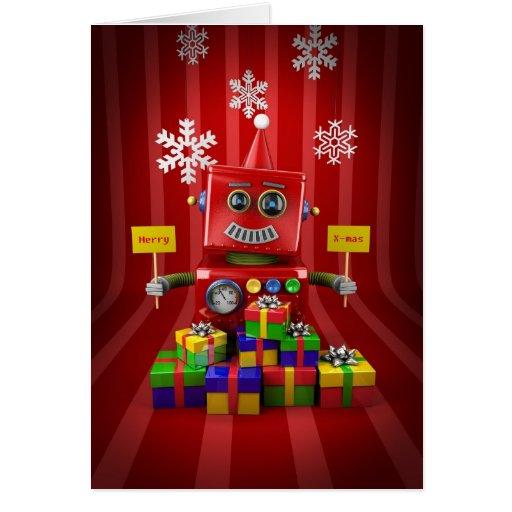 Robot de las Felices Navidad Tarjeton