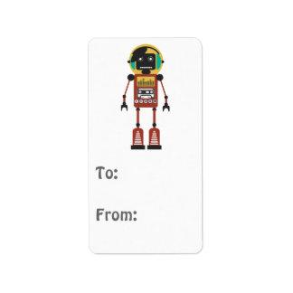 Robot de radio retro etiqueta de dirección