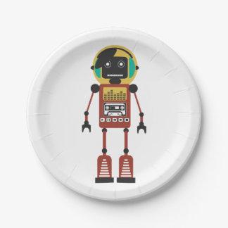 Robot de radio retro platos de papel