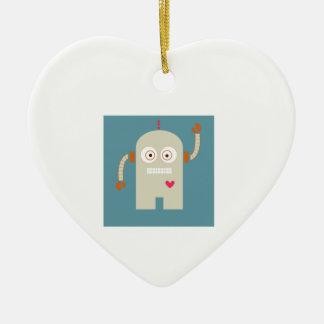 Robot Adorno De Cerámica En Forma De Corazón